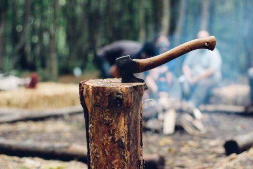 tijdens de reizen van Back to the Wild hak je jouw eigen hout om 's avonds te kunnen koken